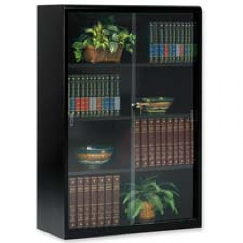 Three Shelf Bookcase With Glass Doors And Lock
