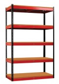 "Garage Black-Red Rivet Shelving Unit, 48"" Wide"